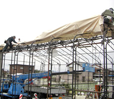 テント倉庫施工